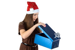 Photo of surprised woman with the present Stock Photos