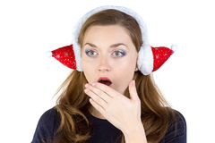 Photo of surprised woman in winter headphones Stock Photo
