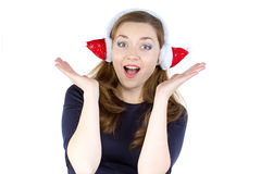 Photo of surprised woman in winter headphones Stock Photos