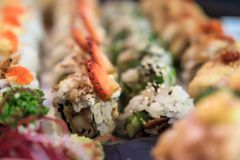 Photo of sushi rolls. Japanese food in restaurant - close-up image royalty free stock photo