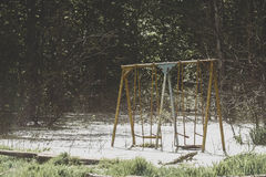 Photo of the swings drowned in a swamp. In the forest Stock Photo