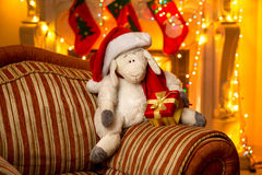 Photo of symbol of year 2015 - sheep, at decorated house Royalty Free Stock Photo