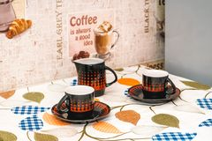 Photo of a table with the circles standing royalty free stock images