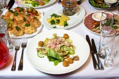 Photo of table with cold appetizers Royalty Free Stock Photos