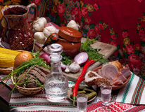 Misted decanter of vodka and traditional Ukrainian snack Stock Images
