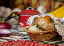 Fresh bread in basket Stock Photography