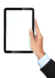 Photo of a tablet held by a hand of businessman vertically Stock Photography