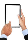 Photo of a tablet held by a hand of businessman vertically Royalty Free Stock Photography