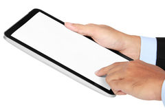 Photo of a tablet held by a hand of businessman vertically Stock Photos
