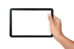Photo of a tablet held by a hand horizontally Stock Images