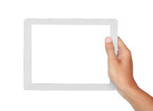 Photo of a tablet held by a hand horizontally Royalty Free Stock Photography