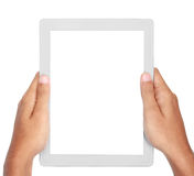 Photo of a tablet held by a hands Royalty Free Stock Photos