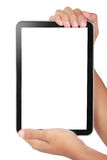 Photo of a tablet held by two hands Stock Images