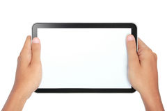 Photo of a tablet held by two hands Royalty Free Stock Photo