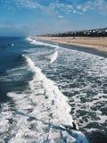 Photo take on pier of California coast. Beach photo of the California Coast taken on a pier stock photos