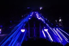 Blue Light Painting by Cars. This photo taken in Aceh Besar, Aceh, Indonesia. What a fantastic Night Stock Photos