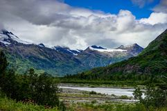 View towards Glacier mountain panoarama in Alaska United States. Photo taken in Alaska, United States of America Royalty Free Stock Photo