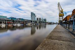 Longterm Exposure Modern Harbour Puerto Madero district in Bueno Stock Photography
