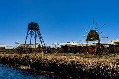 Floating islands made up of Totora reed near Huatajata, Bolivia Royalty Free Stock Photos