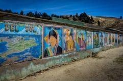 Graffiti Mural art works Isla Del Sol Bolivia royalty free stock photo