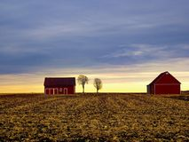 The red barns of the countryside. Photo taken this autumn. The colors of the sky were beautiful. This picture represents the simplicity, the peace of the Stock Images