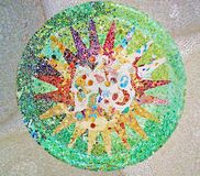 Decoration in Park Guell, tile background broken glass mosaic, stock images