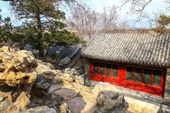 A charming little scene on King wah island , beihai park ,Beijing. The photo is taken in Beijing Beihai park at March 6, 2017 Stock Images