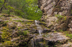 Photo taken from below of a natural waterfall Stock Image