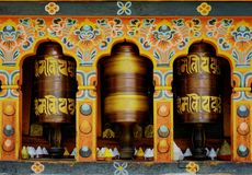 Turning Mantra in Bhutan. Photo taken in Bhutan and showing unique culture and reiligion royalty free stock photography