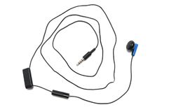 A handsfree earphone for mobile cell phone. A photo taken on a black handsfree earphone with clip and volume controls for mobile cell phone against a white royalty free stock image