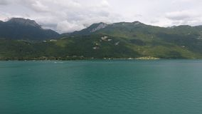 Photo taken by drone, from Lake Annecy. royalty free stock photography