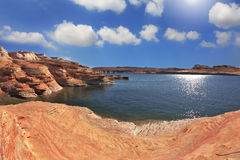 Photo taken fisheye lens. The Lake Powell Stock Image