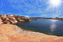 Photo taken fisheye lens. Midday heat Royalty Free Stock Photo