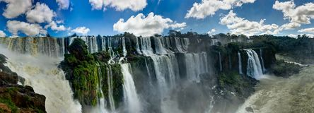 Panorama Iguazu Waterfalls Jungle Argentina Brazil Stock Photo