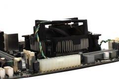 A computer motherboard processor heatsink fan Royalty Free Stock Photo