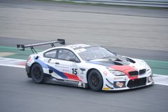 Ceccato Motor Racing Team BMW M6 in action. Photo taken at the Monza circuit in occasion of the first 2019 Endurance Series race of the Italian GT Championship royalty free stock image