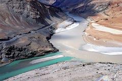 Indus river & zanskar river meeting point at nimo village ladakh