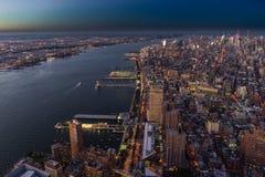 New York Skyline Cityview Manhatten Sunset from World Trade Cent. Photo taken in New York USA, August 2017: New York Skyline Cityview Manhatten Night from World royalty free stock photo