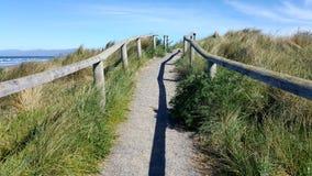 Walkway towards the sky along the beach stock photo