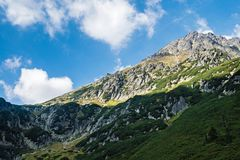 Mountain peaks in Tatra mountains. Photo taken during one of the hiking trips. The aim was to explore and climb the peaks of the Polish mountains. The Tatra royalty free stock photo