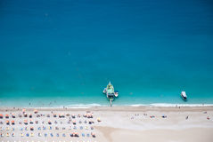 Beach of Oludeniz from the air, Fethiye, Turkey Royalty Free Stock Images