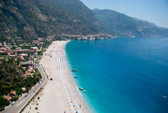 Beach of Oludeniz from the air, Fethiye, Turkey Royalty Free Stock Photos