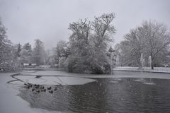Fresh snow in Jephson Gardens, Leamington Spa, UK - winter landscape, december 2017. Photo taken in park in central Leamington Spa, UK, on a snowy day 10th Royalty Free Stock Photography