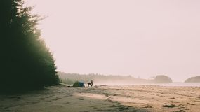 Misty day in the beach. This photo taken in Pasie Saka, Aceh Jaya, Aceh, Indonesia royalty free stock photos