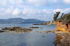 Peninsula Giens. Photo taken the peninsula of giens near Hyères in France. View of the Mediterranean from small coves stock image