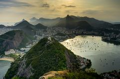 Rio de Janeiro View from Sugarloaf Mountain over the City during sunset Stock Photos