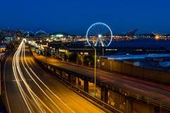 Night View Long Exposure towards ferris wheel in Seattle Washing stock photos