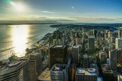 Sunset View from Sky View Observatory over Seattle with Space Ne Royalty Free Stock Images