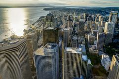 Sunset View from Sky View Observatory over Seattle with Space Ne Stock Images