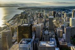 Sunset View from Sky View Observatory over Seattle with Space Ne Royalty Free Stock Photography